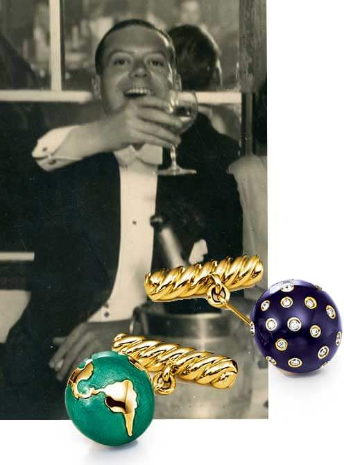 Cole Porter in Paris, circa 1920, with overlay of Night and Day Cufflinks made by Verdura