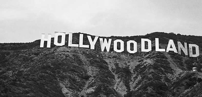 Hollywoodland sign overlooking Hollywood circa 1934