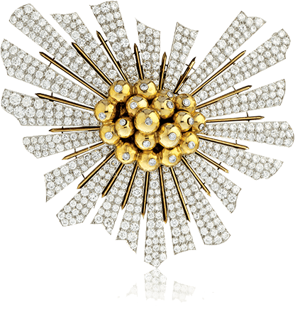 Vintage Verdura gold and diamond Sunburst Brooch