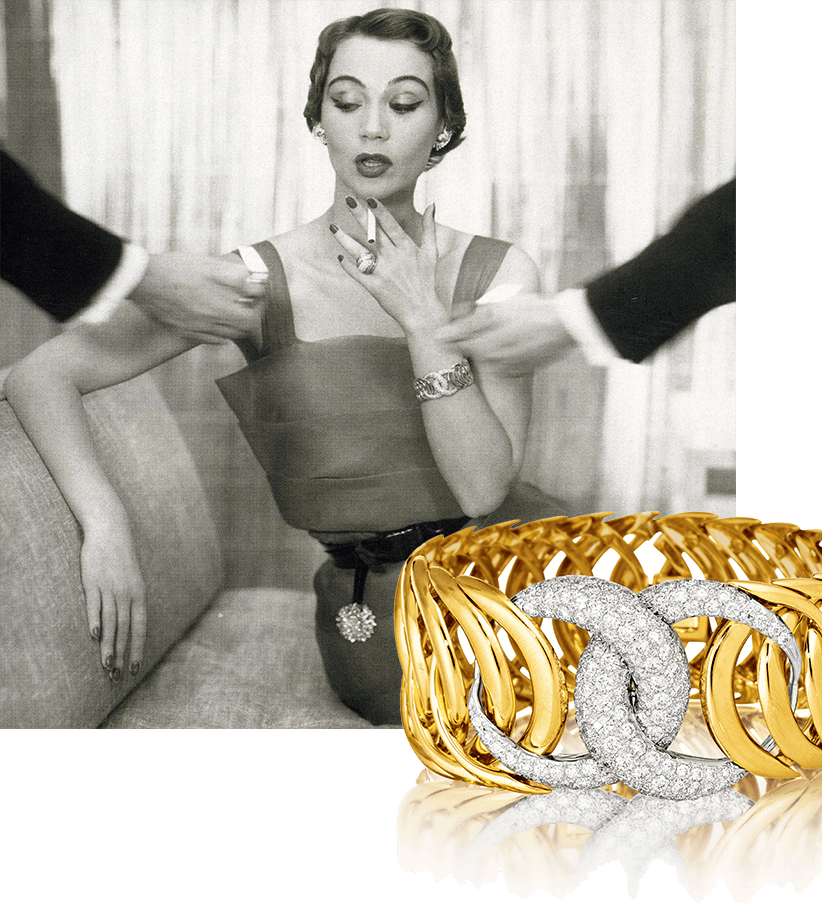 Image of model wearing Verdura's Double Crescent Bracelet, 1950 and Double Crescent Bracelet in gold and diamond