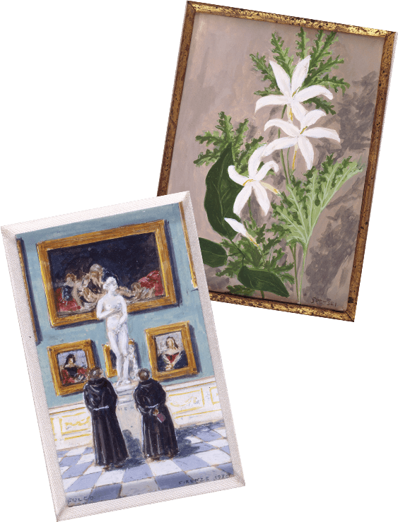 Two miniature paintings by duke Fulco di Verdura
