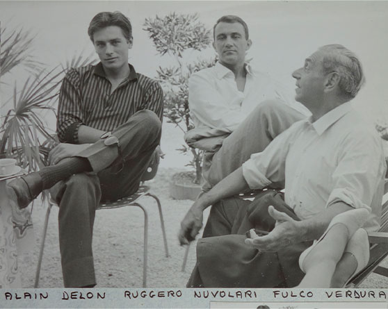 Alain Delon, Ruggero Nuvolari and Fulco di Verdura on the set of The Leopard