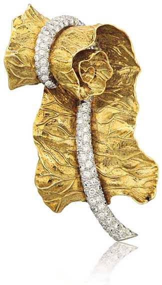 Gold and Diamond Furled Leaf Brooch