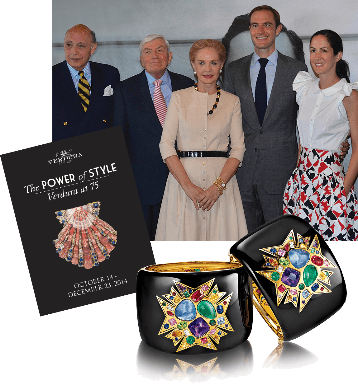 Photo of exhibition curators (from left to right) Reinaldo Herrera, Ward Landrigan, Carolina Herrera, Nico Landrigan, and Patricia Lansing, Verdura's 75th Anniversary Exhibition poster, and pair of 75th Anniversary limited edition Theodora Cuffs